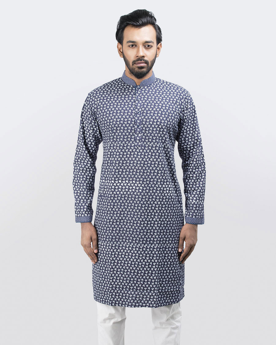 dca98fed42a All Over Printed with Contrasted Collar Placket Sleeve Light Blue Cotton  Summer Comfortable Exclusive Festive Casual