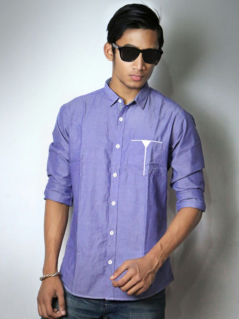 Full sleeve regular fit single pocket light purple summer Light purple dress shirt men