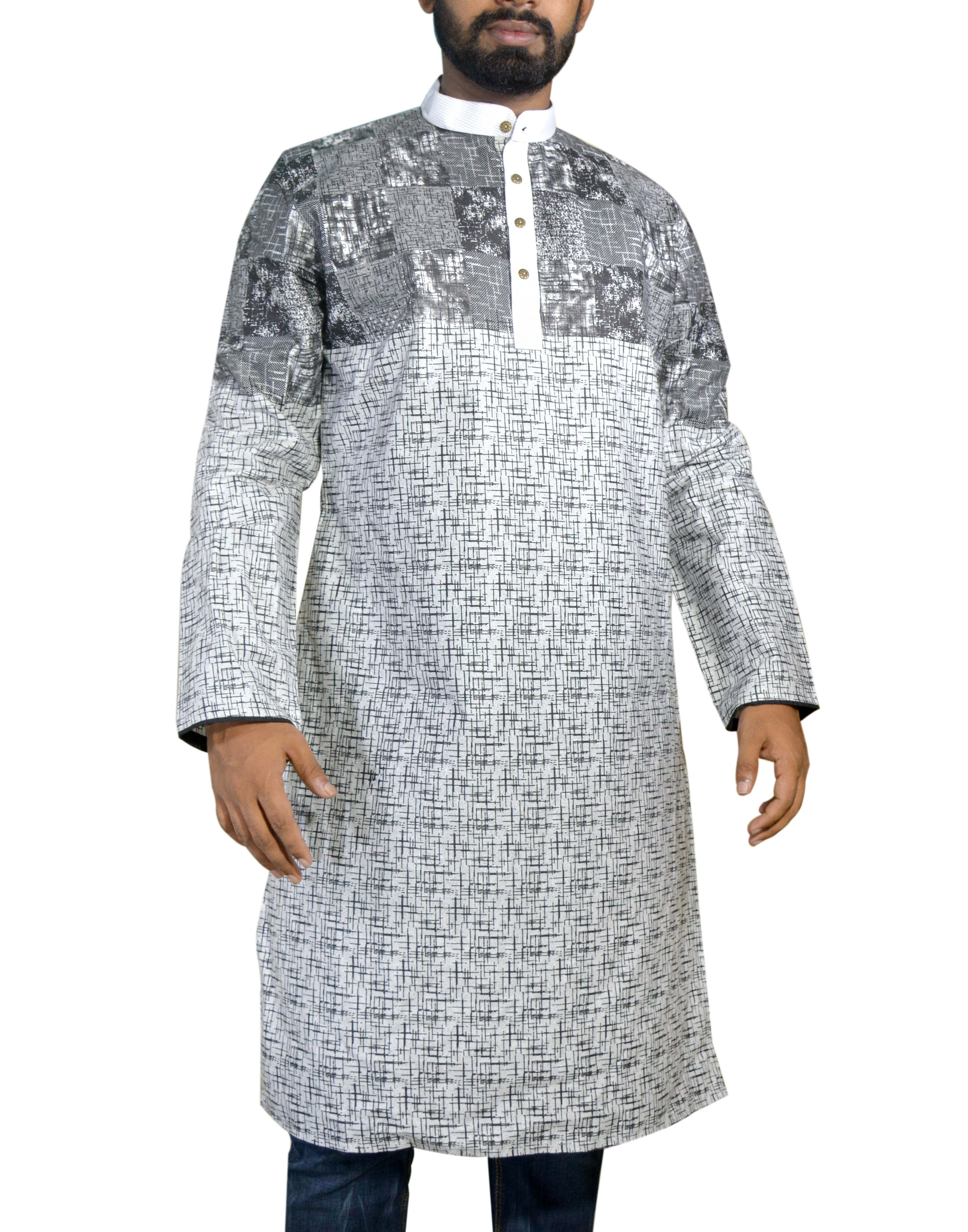 69bcfa7223 ... Slim Fit Cotton White Print fabric Collar Cuff and placket Black and  White Color mixed printed Stylish Button Export Quality Casual Punjabi for  Men ...