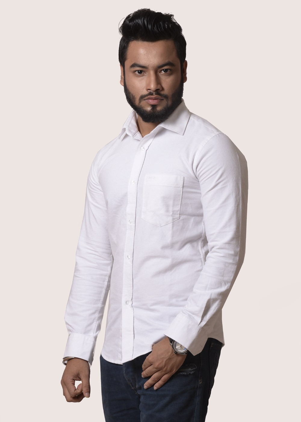 Slim fit white color oxford cotton summer comfortable men for Mens formal white shirts
