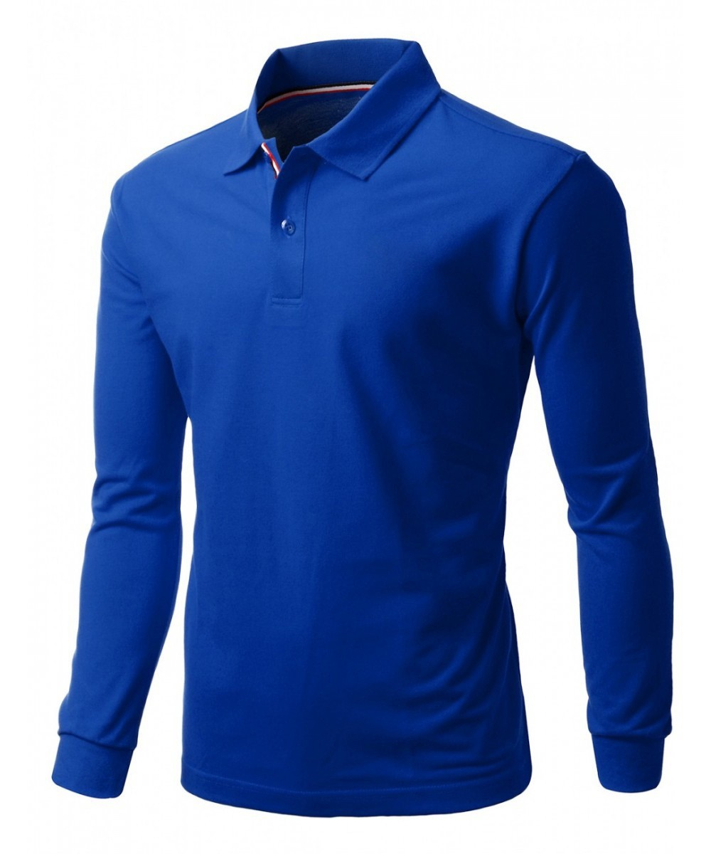 Blue color pk cotton fabrics material export quality full for Full sleeve polo t shirts