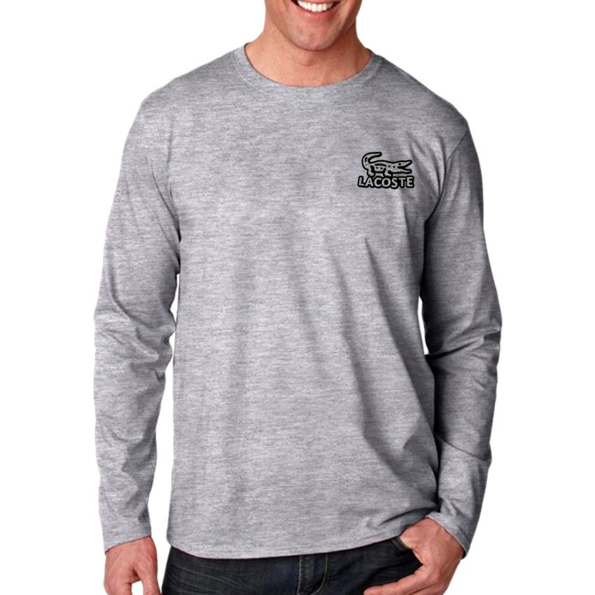 Specification Gray Color Single Nit Cotton Fabrics Material 160 Gsm Bangladesh Manufacture Mens Full Sleeve T Shirt FT 16