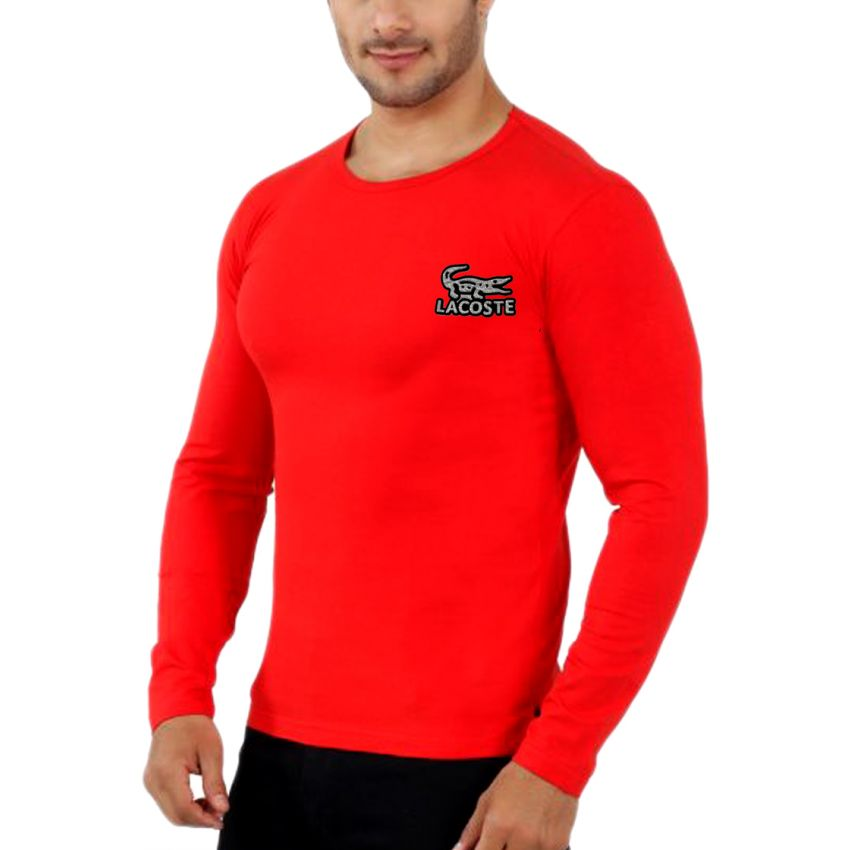 61212d0dc81 Specification  Red Color Single Nit Cotton Fabrics Material 160 Gsm  Bangladesh Manufacture Mens Full Sleeve T-shirt (FT-13)